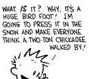 Huge bird foot