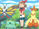 EP366 May, Combusken, Beautifly y Bulbasaur.png