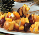 Grilled Fruit Skewers with Yogurt Honey Sauce by Elle Bee