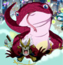 Mirajane as a gecko and Elfman on Fantasia Parade.jpg