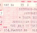 1987 - 11 July: Pittsburgh, PA (USA)