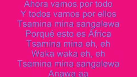 Waka waka shakira letras en español