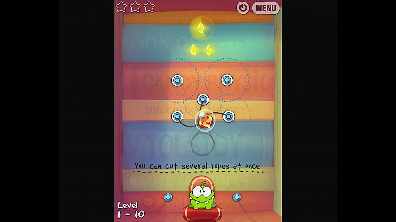 Cut the Rope Experiments Getting Started 1-10 Walkthrough