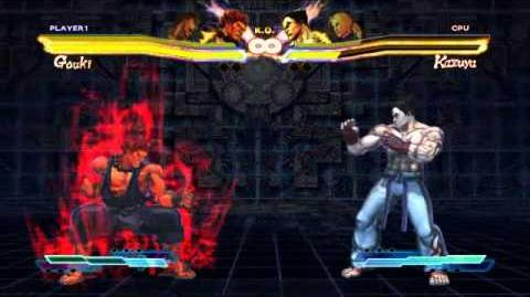 Akuma performing his Super Art and Cross Art in Street Fighter X Tekken