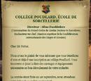 Lettre d'admission à Poudlard