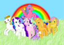 G1 Applejack G1 General Firefly, Posey Sparkler G1 Surprise and G1 Twilight with G1 Spike.png