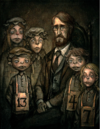 Portrait of Bumby with the orphans in Houndsditch.png