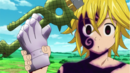 Meliodas taking his sword back, along with Guila's hand.png