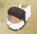 Nyanko running carrying natsume beg.png