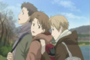 Natsume pushing his friends away from the weird thing in lake.png