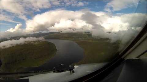 Cockpit - AVRO Rj100 Landing VAGAR Faroe Islands Rwy 30 visual waterfall approach Fantastic view