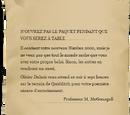 Lettre de Minerva McGonagall à Harry Potter (1991)