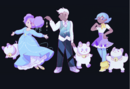 Bee Deckard and Cass in starry outfits.png