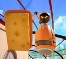 De oranje schoonmaakrobot