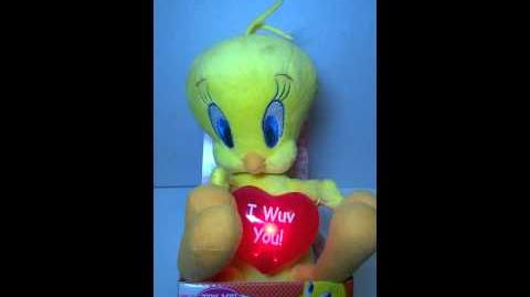 Animated Plush Tweety valentine SINGS & Dances Do You Love Me I Wuv You Heart