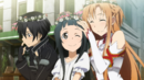 Kirito, Asuna and Yui wearing flower crowns.png