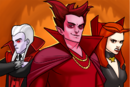 Mephisto (Earth-TRN562), Vlad Dracula (Earth-TRN562) and Satana Hellstrom (Earth-TRN562) from Marvel Avengers Academy 001.png