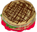 Naleśniki piętrowe z podwójnym kremem truskawkowym, sałatą, powietrzem i gorzką czekoladą