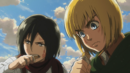 Mikasa and Armin eating military biscuits.png