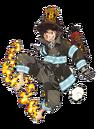 Shinra con su uniforme de bombero.png