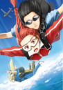 Piña and Tuka sky diving from volume 8 of light novels.png
