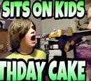 DAD SITS ON KID'S BIRTHDAY CAKE!!!