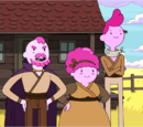 Uncle Gumbald, Cousin Chicle and Aunt Lolly