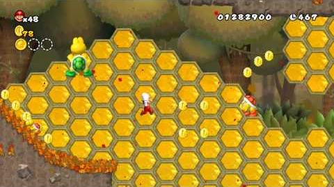 Newer Super Mario Bros. Wii World A-A Goldbuzz Forest Star Coins and Secret Exit