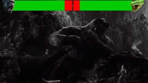 King Kong vs Cave Serpent with healthbars