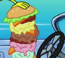 Triple Krabby Patty with five scoops of ice cream