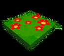 Chemin de fleurs rouges